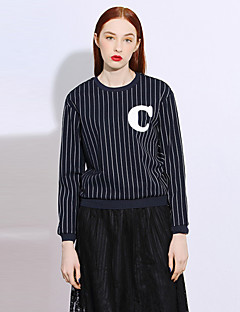 I'HAPPY Women's Casual/Daily Simple Spring / Fall T-shirtStriped / Letter Round Neck Long Sleeve Blue