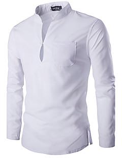 Langærmet Høj krave Medium Herre Hvid / Sort Ensfarvet Forår / Efterår Simpel Casual/hverdag Skjorte,Bomuld