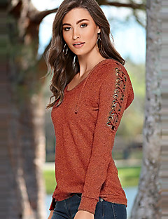 Women's Going out / Casual/Daily Simple / Street chic All Match Spring / Fall T-shirtSolid Round Neck Long Sleeve