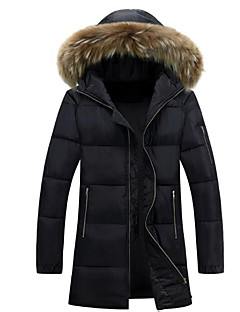 Men's Long Padded Coat,Simple Casual/Daily Solid-Polyester Cotton Long Sleeve Hooded Black