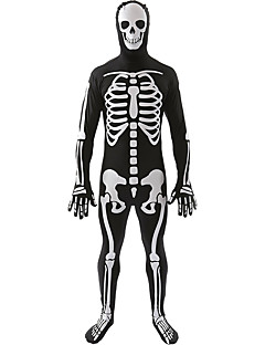 Cosplay Costumes Skeleton/Skull Halloween White / Black Print Cotton Leotard/Onesie