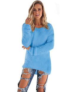 Dames Casual/Dagelijks Eenvoudig Lang Pullover Effen-Blauw / Roze / Rood / Beige / Zwart / Bruin / Grijs Ronde hals Lange mouw Katoen