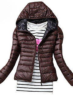 Hot Sale Women's Regular Padded CoatSimple Casual/Daily Solid-Polyester Polyester Long Sleeve Hooded Red / Black / Green