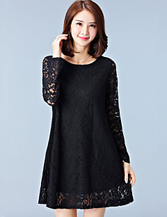 Women's Plus Size / Casual/Daily / Holiday Simple / Cute A Line /  Lace DressSolid Round Neck Above Knee Long SleeveBlue