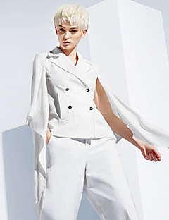 DL.FANG Women's Going out / Casual/Daily Simple JacketsSolid Notch Lapel Long Sleeve Spring / Fall White Polyester Medium