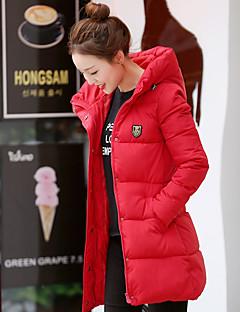 Dámské Standardní Dlouhý kabát Jednoduché Jdeme ven Jednobarevné-Kabát Polyester Prachové kachní peří bílé Dlouhý rukáv RolákModrá Růžová