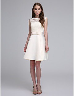 LAN TING BRIDE Krátký / Mini Klenot Šaty pro družičky - Elegantní Bez rukávů Krajka Satén
