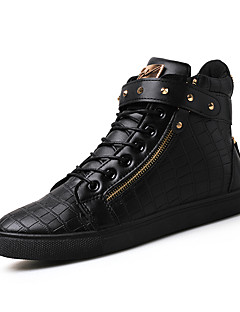 Men's Sneakers Spring / Summer / Fall / Winter Comfort Leather Outdoor / Office & Career / Casual Flat Heel Lace-up Black / Brown / Silver