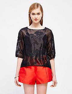Damen Solide Anspruchsvoll Ausgehen T-shirt,Rundhalsausschnitt Frühling / Herbst ½ Länge Ärmel Weiß / SchwarzKunstseide / Polyester /