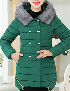 Dame Normal Polstret Langermet Frakk,Enkel Fritid/hverdag / Plusstørrelser Ensfarget-Polyester Polyester Skjortekrage Blå / Rød / Sort