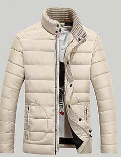 Men's Padded Coat,Simple Casual/Daily Solid-Others Polyester Long Sleeve Stand White / Black