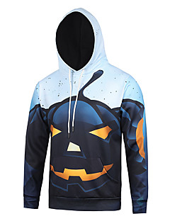 Men's Print Casual / Sport Halloween Pumpkin Print Long Sleeve Men 3d Hoodie