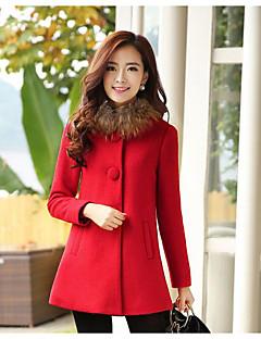 Dámské Jednobarevné Běžné/Denní / Velké velikosti Jednoduché Kabát-Polyester Zima Dlouhý rukáv Červená / Žlutá Střední