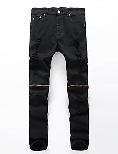 Herre Løstsiddende / Ret Plus Størrelser Jeans Bukser-Vintage / Street Casual/hverdag Stribet Flettet Lavtaljede Lynlås Bomuld / Nylon
