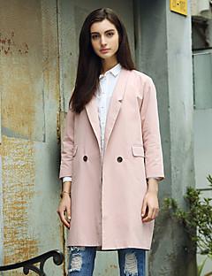 Damen Solide Einfach Ausgehen Trenchcoat,Frühling / Herbst Steigendes Revers Langarm Rosa / Grau Mittel Baumwolle / Polyester / Nylon