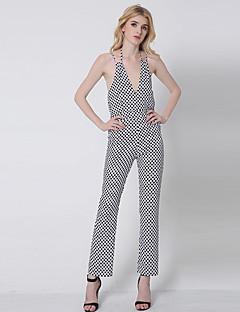 1287 Women's Polka Dot White JumpsuitsSimple Strap Sleeveless