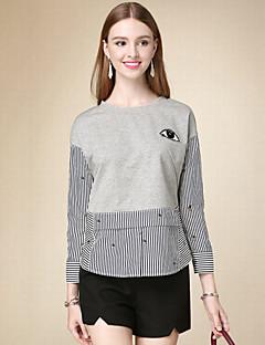 T-shirt Da donna Casual Semplice Autunno,A strisce Rotonda Cotone Grigio Manica lunga Medio spessore