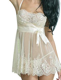 Women Chemises & Gowns Nightwear,Lace Solid Spandex Core Spun Yarn Beige