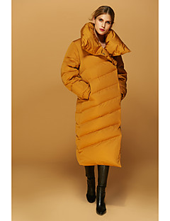 Damen Daunen Mantel,Lang Einfach Ausgehen / Lässig/Alltäglich / Urlaub Solide-Polyester Weiße Entendaunen Langarm Rot / Schwarz / Orange