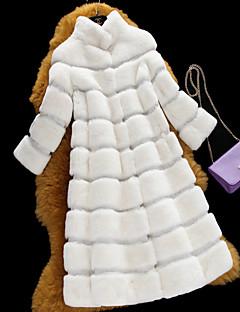 אחיד צווארון עגול פשוטה יום יומי\קז'ואל מעיל פרווה נשים,צבעוני שרוול ארוך סתיו / חורף בינוני (מדיום) פרוות ארנב רקס
