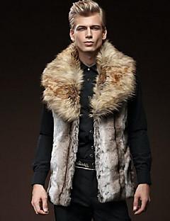 Masculino Casaco de Pelo Casual Moda de Rua Outono / Inverno,Sólido Marrom Pêlo Sintético Colarinho de Camisa-Sem Manga Grossa