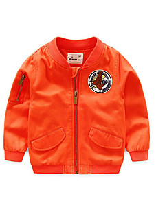 Boy's Casual/Daily Solid Jacket & CoatCotton Spring / Fall Green / Orange