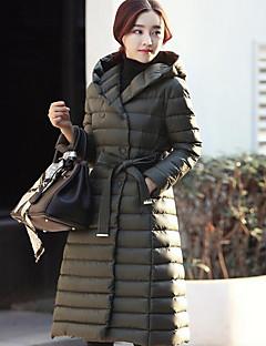 ארוך מעיל פוך מעיל נשים,אחיד סגנון רחוב יום יומי\קז'ואל פוליאסטר נוצות אווז לבן-שרוול ארוך עם קפוצ'ון שחור / ירוק