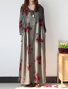 Tunika Ruha Női Kínai Casual/hétköznapi,Virágos V-alakú Maxi ¾-es ujjú Szürke Pamut / Len Tavaszi / Őszi Közepes derekú Nem elasztikus