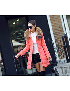 Women's Long Down Coat,Simple Casual/Daily Solid-Polyester White Duck Down Long Sleeve Pink / Black