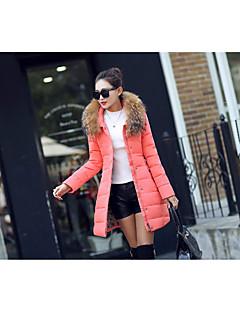 ארוך מעיל פוך מעיל נשים,אחיד פשוטה יום יומי\קז'ואל פוליאסטר נוצות ברווז לבנות-שרוול ארוך ורוד / שחור