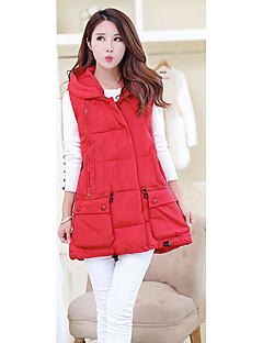Casual/hétköznapi Egyszerű Kabát-Női Egyszínű Sportos kabátok Poliészter Fehér kacsapehely Ujjatlan Piros / Fehér / Fekete / Zöld