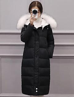 コート ロング ダウン レディース,カジュアル/普段着 ソリッド ポリエステル ホワイトダックダウン-シンプル 長袖