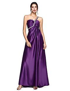 b2887cded74e Γραμμή Α Ένας Ώμος Ουρά Ελαστικό Σατέν Επίσημο Βραδινό Φόρεμα με  Φιόγκος(οι) Κρυστάλλινη