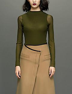 Damen Solide Einfach Lässig/Alltäglich Hemd,Rundhalsausschnitt Frühling / Herbst Langarm Grün Polyester Dünn
