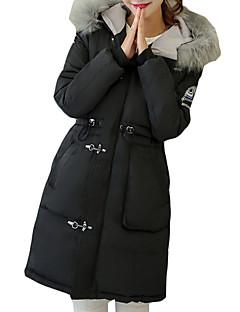 Langærmet Lang Dunjakke Dame Frakke,Vintage / Simpel / Street I-byen-tøj / Casual/hverdag / Plusstørrelser Ensfarvet-Bomuld Polypropylen