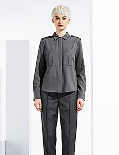 여성 솔리드 셔츠 카라 긴 소매 셔츠,심플 데이트 / 캐쥬얼/데일리 그레이 레이온 / 폴리에스테르 / 스판덱스 봄 / 가을 중간