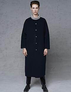 Damen Solide Einfach Ausgehen / Lässig/Alltäglich Mantel,Winter Hemdkragen Langarm Blau Dick Wolle