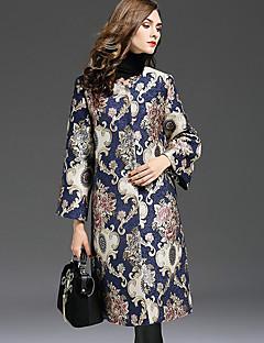 Damen Stickerei Retro Lässig/Alltäglich / Übergröße Trenchcoat,Herbst / Winter Rundhalsausschnitt ¾-Arm Blau Mittel Polyester