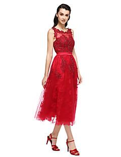 Cocktail Vestito Da ballo Stondata Alla caviglia Di pizzo / Raso / Tulle conCon applique / Perline / Di pizzo / Dettagli con perline /