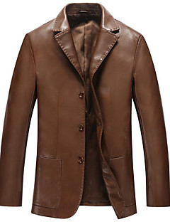 Men's Plus Size / Casual/Daily Simple Leather Jackets,Solid Long Sleeve Black / Brown Polyester