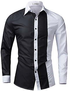 Men's Casual/Daily / Formal Simple Spring / Fall ShirtColor Block Shirt Collar Long Sleeve  Cotton / Acrylic 916467