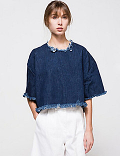 Women's Going out / Casual/Daily Street chic Fall T-shirt,Solid Round Neck ½ Length Sleeve Blue Cotton Opaque / Thin