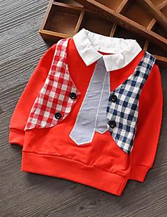 Drengens Skjorte / Hættetrøje og sweatshirt Bomuld Ruder Casual/hverdag Forår / Efterår Orange