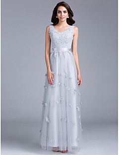 Formal Evening / Black Tie Gala Dress Sheath / Column V-neck Floor-length Tulle with Appliques / Beading / Flower(s)