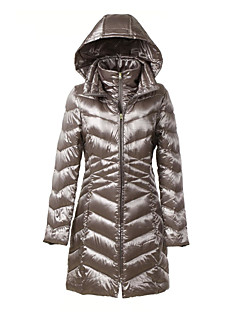 Women's Solid Silver Down Coat,Simple / Sophisticated Hooded Long Sleeve