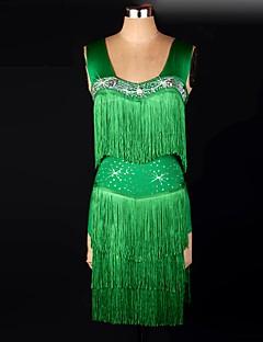 Műkorcsolya ruha Női Ujjatlan Télisportok Ruhák Nagy rugalmasságú Műkorcsolya ruha Anatómiai tervezés Bojt Elasztán Zöld Kűrruhák Sexy