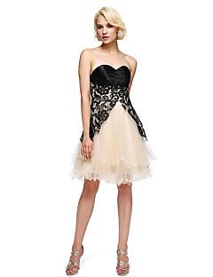 e4aad8770a31 Γραμμή Α Στράπλες Κοντό   Μίνι Δαντέλα Σατέν Τούλι Σαρμέζ Κοκτέιλ Πάρτι  Καλωσόρισμα Χορός Αποφοίτησης Φόρεμα