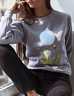 Women's Casual/Daily Cute Regular PulloverFloral Gray Round Neck Long Sleeve Polyester Fall / Winter