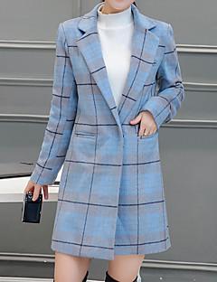 女性 お出かけ 冬 チェック トレンチコート,シンプル ノッチドラペル ブルー / ピンク ウール / ポリエステル 長袖 厚手