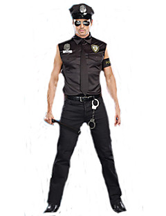 Male Police Costumes Boys Cosplay Party Career Costumes Police Career Costumes Movie Cosplay Black Top Pants Hat Halloween Carnival Male Polyester